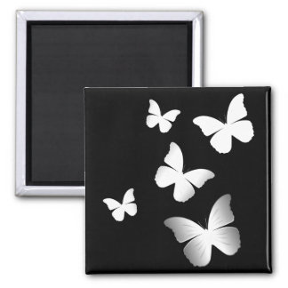 5 White Butterflies Square Magnet