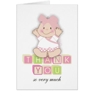 """5""""x7""""Baby Shower Matching Baby Girl Thank You Card"""