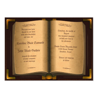 "*5"" x 7"" Ancient Vintage Leather Book Wedding 13 Cm X 18 Cm Invitation Card"
