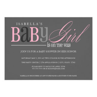 5 x 7 Baby Girl Baby Shower Invite