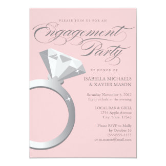 "5 x 7 Engagement Ring | Engagement Party Invite 5"" X 7"" Invitation Card"