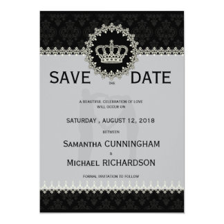 """5"""" x 7"""" Modern Laces Crown Wedding Passport Personalized Invites"""