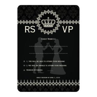 "5 x 7"" Modern Laces Crown Wedding Passport  RSVP Announcement"