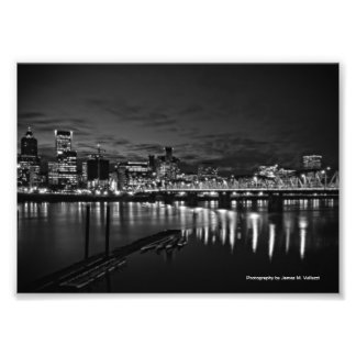 5 x 7 Portland Skyline at Night #2 Photo Print