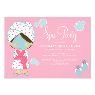 5 x 7 Spa Party Party Invite