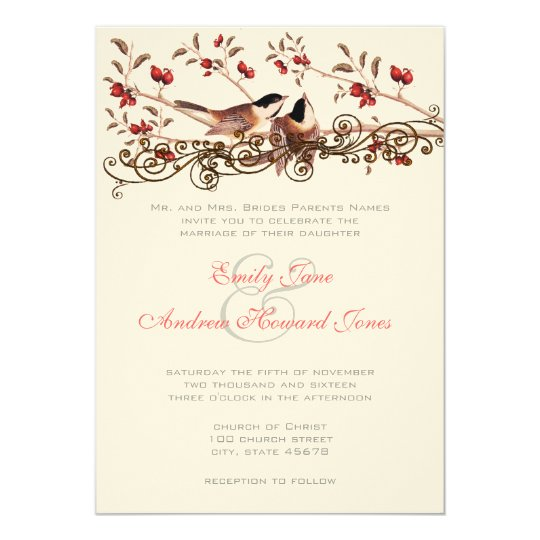 5 x 7 Vintage Chickadees Wedding Invitation