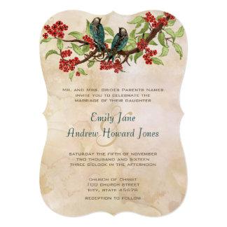 5 x 7 Vintage Love Birds Tea Stain Wedding Invites