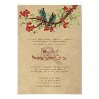 "5 x 7 Vintage Love Birds Tea Stain Wedding Invites 5"" X 7"" Invitation Card"