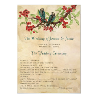 5 x 7 Vintage Love Birds Tea Stain Wedding Program Personalized Announcements