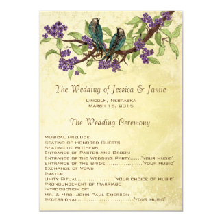 5 x 7 Vintage Love Birds Tea Stain Wedding Program Custom Invitations