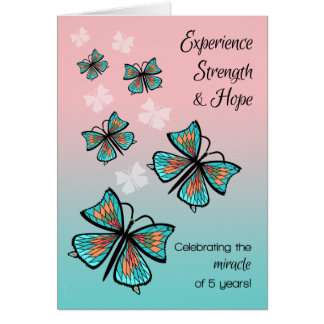 5 Year Addiction Recovery Birthday Butterflies Card
