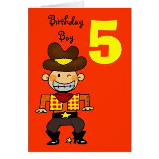 5 year old birthday boy greeting card