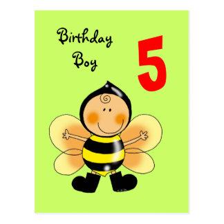 5 year old birthday boy post card
