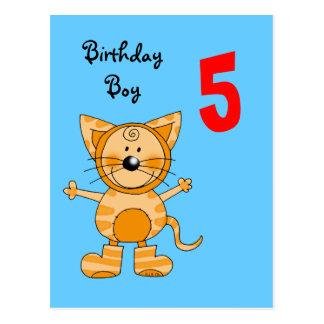 5 year old birthday boy postcard