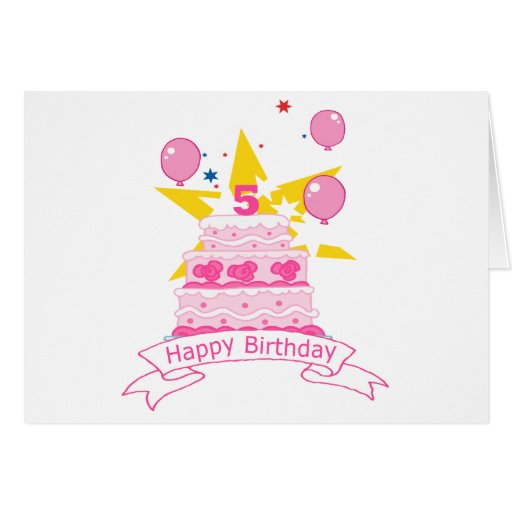 5 Year Old Birthday Cake Card