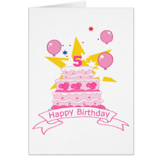 5 Year Old Birthday Cake Greeting Cards