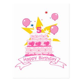 5 Year Old Birthday Cake Postcard