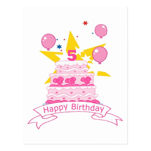 5 Year Old Birthday Cake Post Cards