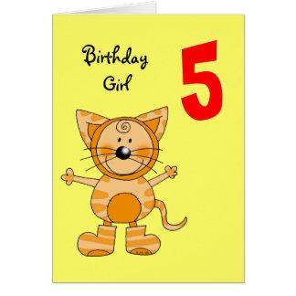 5 year old birthday girl greeting card