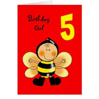 5 year old birthday girl card