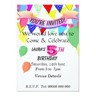 5 Year Old Birthday Party Invitation