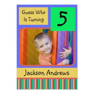 "5 Year Old Birthday Party Invitations BOY 5"" X 7"" Invitation Card"