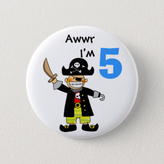 5 year old pirate boy 6 cm round badge