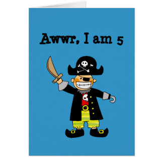 5 year old pirate boy greeting card