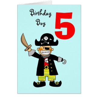 5 year old pirate boy greeting card