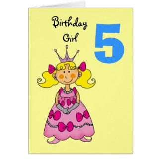5 year old princess (blonde hair) card
