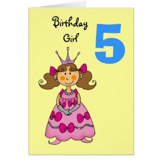 5 year old princess (brown hair) card