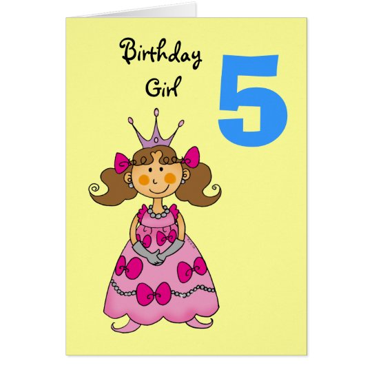 5 year old princess (brown hair) card