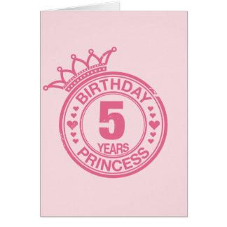 5 years - Birthday Princess - pink Greeting Card