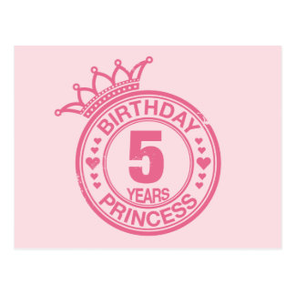 5 years - Birthday Princess - pink Postcard