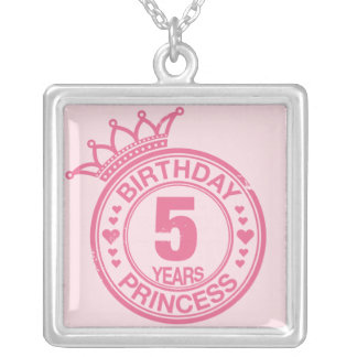 5 years - Birthday Princess - pink Silver Plated Necklace