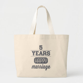 5 Years Happy Marriage Large Tote Bag
