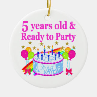 5 YEARS OLD AND READY TO PARTY BIRTHDAY GIRL ROUND CERAMIC DECORATION