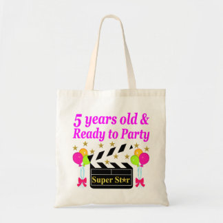 5 YEARS OLD AND READY TO PARTY MOVIE STAR DESIGN TOTE BAG