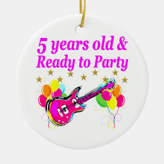 5 YEARS OLD AND READY TO PARTY ROCK STAR ROUND CERAMIC DECORATION
