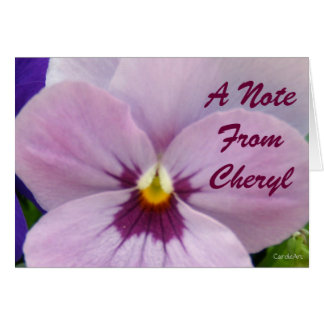 5b Pale Lavender Pansy Note Card