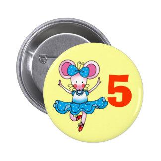 5h birthday gift for a girl, cute ballerina 6 cm round badge