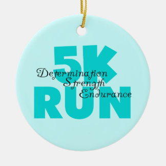 5K Run Aqua Sports Running Ceramic Ornament