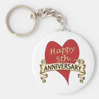 5th. Anniversary Basic Round Button Key Ring