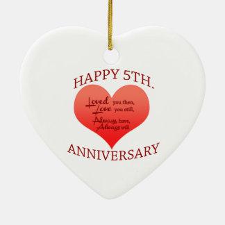 5th. Anniversary Ceramic Heart Decoration