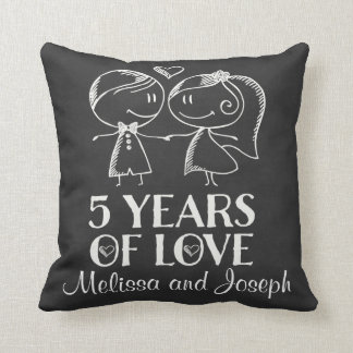 5th Anniversary Couples Personalized Pillow