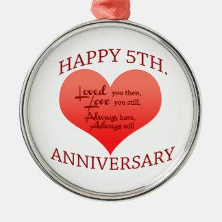 5th. Anniversary Silver-Colored Round Decoration