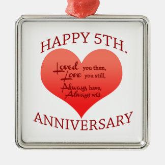 5th. Anniversary Silver-Colored Square Decoration