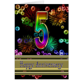 5th anniversary with fireworks and bubbles greeting card