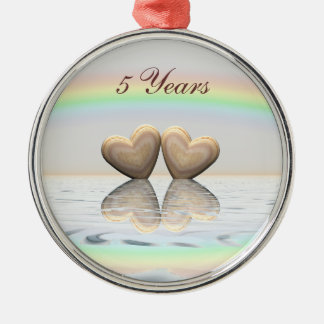 5th Anniversary Wooden Hearts Silver-Colored Round Decoration