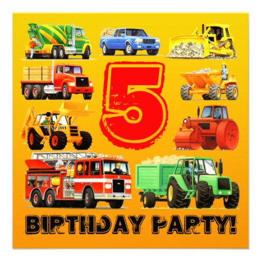 5th Big Truck Birthday Party Invitations